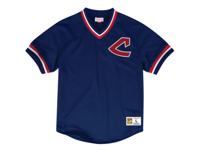 Cleveland Indians Mitchell & Ness MLB Men's Mesh V-Neck Jersey