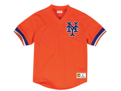 New York Mets Mitchell & Ness MLB Men's Mesh V-Neck Jersey