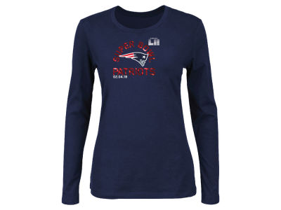 New England Patriots Majestic NFL Women's Super Bowl LII Bound Foil Long Sleeve T-Shirt