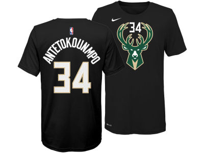 Milwaukee Bucks Giannis Antetokounmpo Nike NBA Youth Statement Name and Number T-shirt