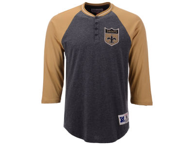 New Orleans Saints Mitchell & Ness NFL Men's Four Button Henley T-shirt