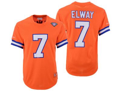 Denver Broncos John Elway Mitchell   Ness NFL Men s Mesh Name and Number  Crewneck Jersey 510142bbe