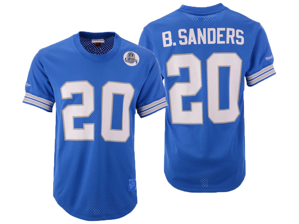 cada31540 Detroit Lions Barry Sanders Mitchell   Ness NFL Men s Mesh Name and Number  Crewneck Jersey