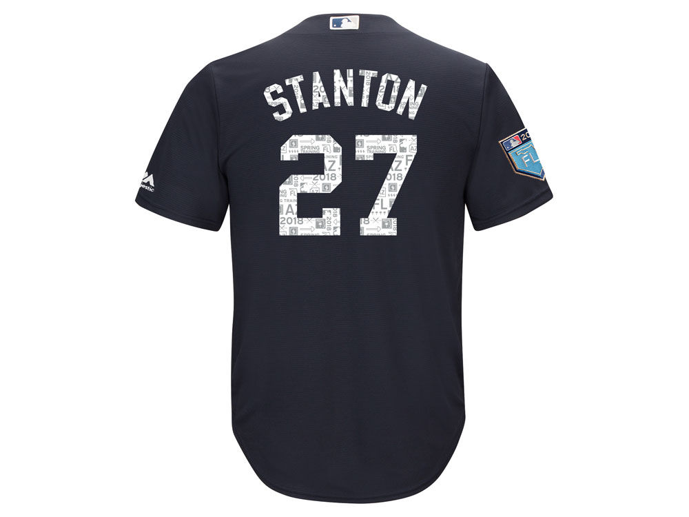 New York Yankees Giancarlo Stanton Majestic 2018 MLB Men s Spring Training  Patch Replica Cool Base Jersey  25e3edf5585
