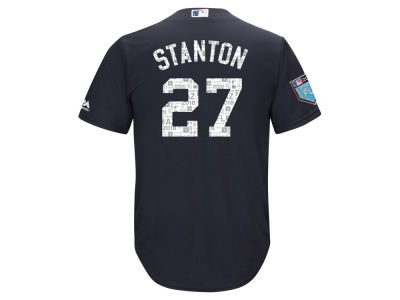 New York Yankees Giancarlo Stanton Majestic 2018 MLB Men's Spring Training Patch Replica Cool Base Jersey