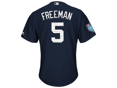 Atlanta Braves Freddie Freeman Majestic 2018 MLB Men's Spring Training Patch Replica Cool Base Jersey