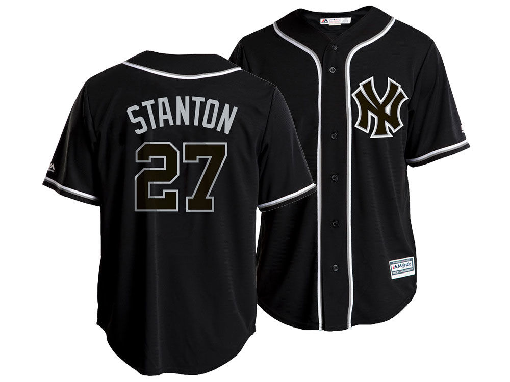 New York Yankees Giancarlo Stanton Majestic MLB Men s Pitch Black Jersey  26246f9630a
