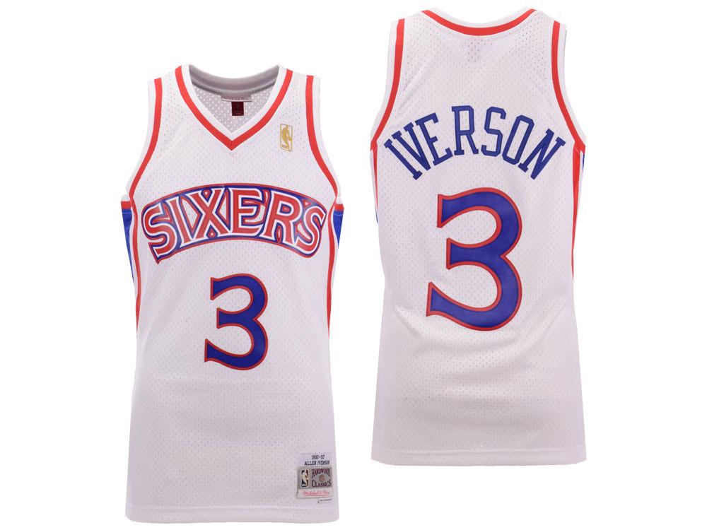 Philadelphia 76ers Allen Iverson Mitchell   Ness NBA Men s Hardwood Classic  Swingman Jersey. Philadelphia 76ers ... 414dfa1e5