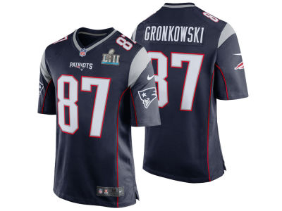 New England Patriots ROB GRONKOWSKI Nike NFL Men's Super Bowl LII Patch Game Jersey