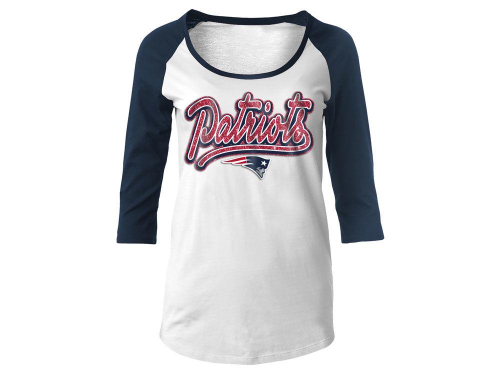 New England Patriots 5th   Ocean NFL Women s Glitter Raglan T-Shirt ... 4355291ef9