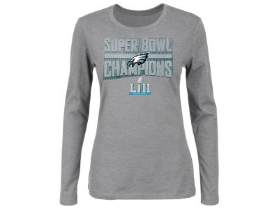 Philadelphia Eagles Majestic NFL Women's Super Bowl LII Champ Metallic Long Sleeve T-Shirt