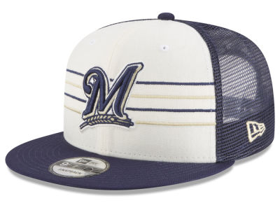 Milwaukee Brewers New Era MLB Vintage Stripe 9FIFTY Snapback Cap