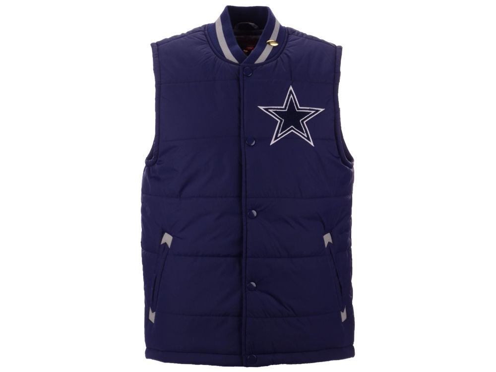 3a185d28e09 Dallas Cowboys Mitchell   Ness NFL Men s Amazing Catch Varsity Vest w Gold  Pin