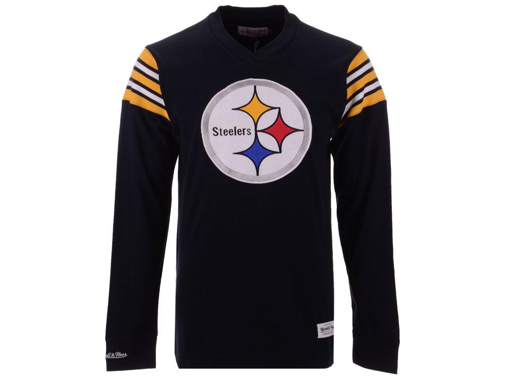 Pittsburgh Steelers Mitchell   Ness NFL Men s Team Captain V-Neck Long  Sleeve T-Shirt  805441696
