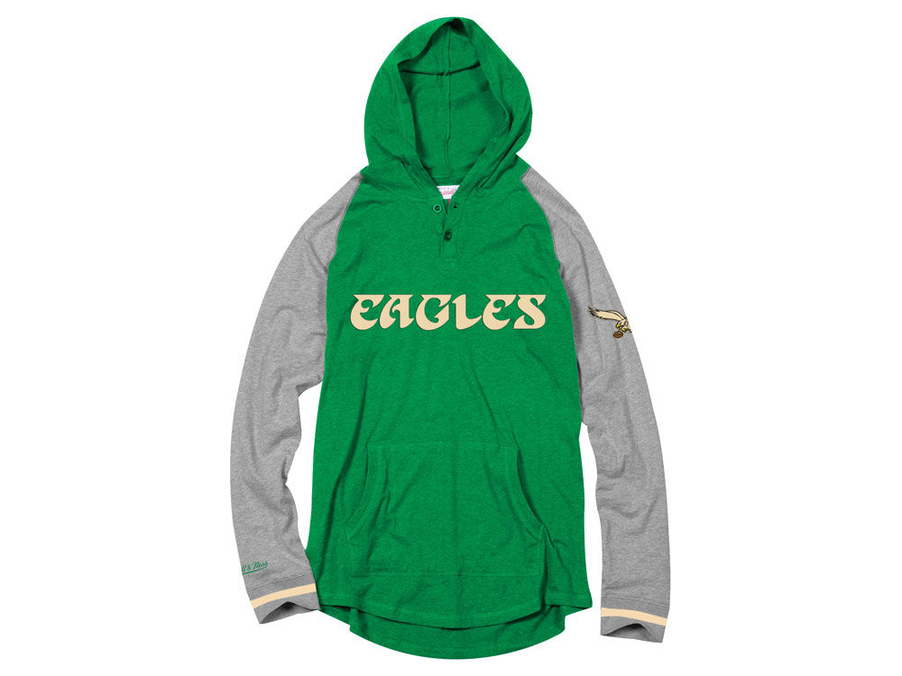 Philadelphia Eagles Mitchell   Ness NFL Men s Slugfest Lightweight Hooded  Long Sleeve T-shirt  20eb0dc4f