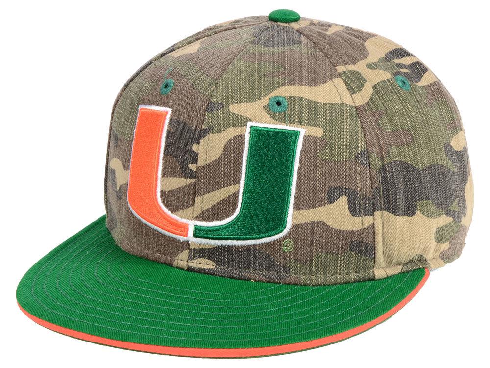 Miami Hurricanes adidas NCAA Stadium Performance Camo Fitted Cap ... 1126e9d051e