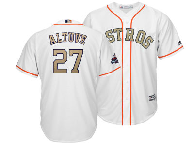 Houston Astros Jose Altuve Majestic 2018 MLB Men's Gold Replica Cool Base Jersey