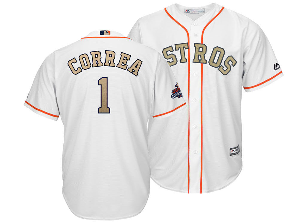 b2be25aa8 Houston Astros Carlos Correa Majestic 2018 MLB Men s Gold Replica Cool Base  Jersey