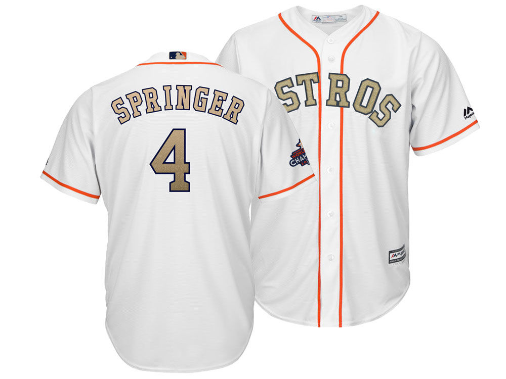 Houston Astros George Springer Majestic 2018 MLB Men s Gold Replica Cool  Base Jersey  fb7ee17a0