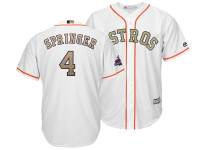 Houston Astros George Springer Majestic 2018 MLB Men's Gold Replica Cool Base Jersey