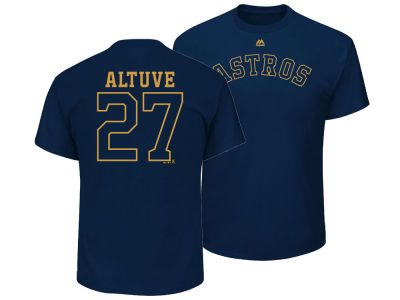Houston Astros Jose Altuve Majestic MLB Men's World Series Gold Name and Number T-shirt