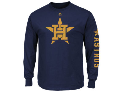 Houston Astros MLB Men's World Series Gold Logo Long Sleeve T-shirt