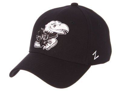 Kansas Jayhawks Zephyr NCAA Black White Stretch Cap