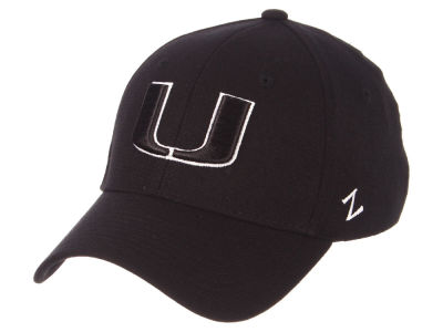 Miami Hurricanes Zephyr NCAA Black White Stretch Cap