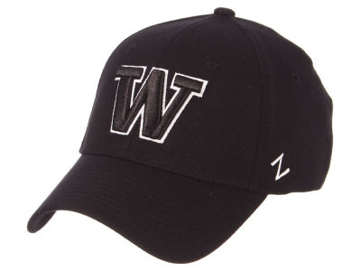 Washington Huskies Zephyr NCAA Black White Stretch Cap