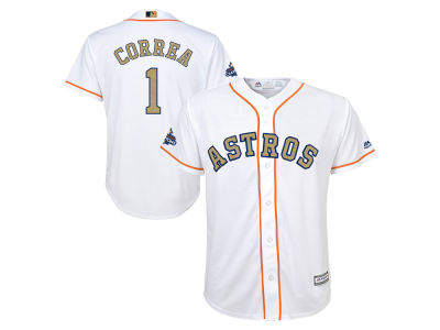 Houston Astros Carlos Correa 2018 MLB Youth World Series Gold Player Replica Cool Base Jersey