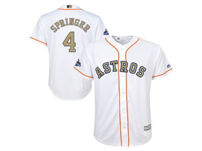 Houston Astros George Springer 2018 MLB Youth World Series Gold Player Replica Cool Base Jersey