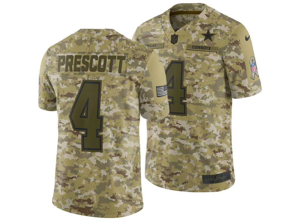 Dallas Cowboys Dak Prescott Nike 2018 NFL Men s Salute To Service Jersey  82efe2f84