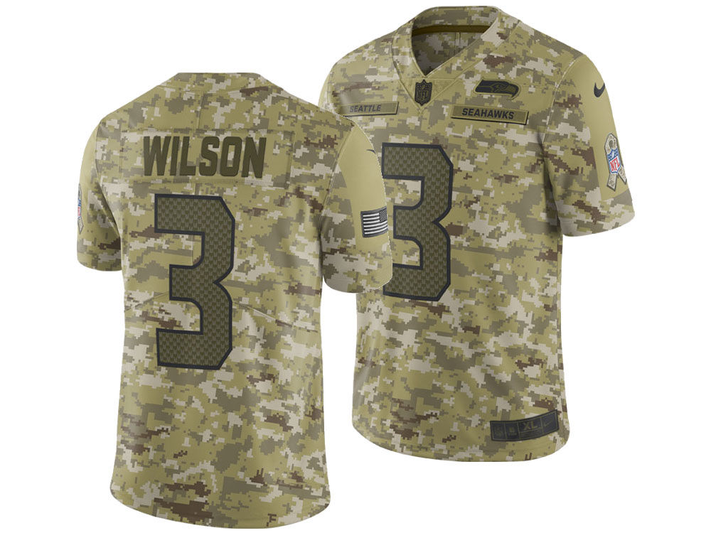 a4b2b8dad15 Seattle Seahawks Russell Wilson Nike 2018 NFL Men s Salute To Service Jersey