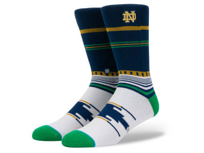 Notre Dame Fighting Irish Stance NCAA Geo Stripe Crew Socks