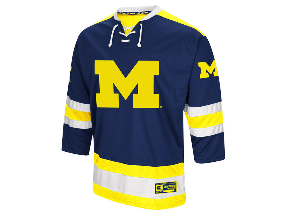 Michigan Wolverines Colosseum NCAA Men s Fashion Hockey Jersey ... 9293a7695