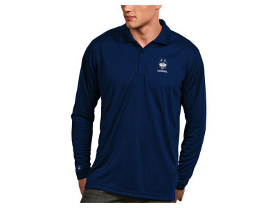 Connecticut Huskies Antigua NCAA Men's Long Sleeve Exceed Polo