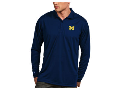Michigan Wolverines Antigua NCAA Men's Long Sleeve Exceed Polo