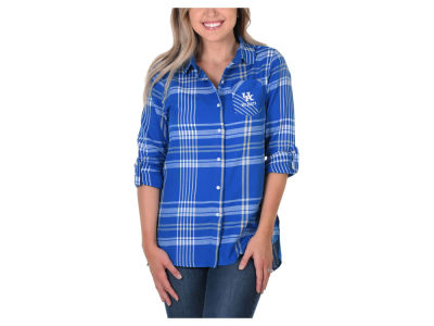 Kentucky Wildcats University Girls NCAA Women's Flannel Boyfriend Button Up Shirt