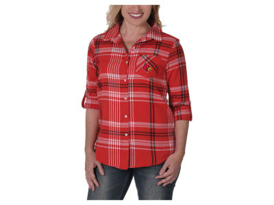 Louisville Cardinals University Girls NCAA Women's Flannel Boyfriend Button Up Shirt