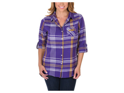 LSU Tigers University Girls NCAA Women's Flannel Boyfriend Button Up Shirt