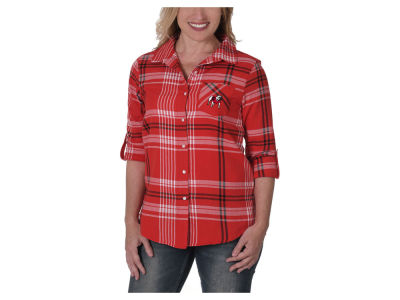 Georgia Bulldogs University Girls NCAA Women's Flannel Boyfriend Button Up Shirt