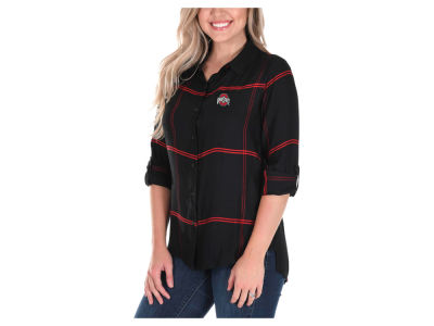 Ohio State Buckeyes University Girls NCAA Women's Satin Boyfriend Plaid Button Up Shirt
