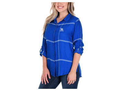 Kentucky Wildcats University Girls NCAA Women's Satin Boyfriend Plaid Button Up Shirt