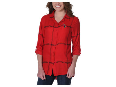 Louisville Cardinals University Girls NCAA Women's Satin Boyfriend Plaid Button Up Shirt