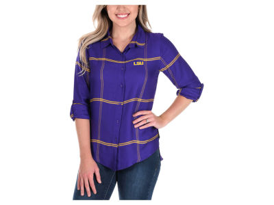 LSU Tigers University Girls NCAA Women's Satin Boyfriend Plaid Button Up Shirt