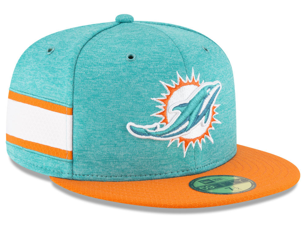 2f358197a Miami Dolphins New Era 2018 Official NFL Sideline Home 59FIFTY Cap ...