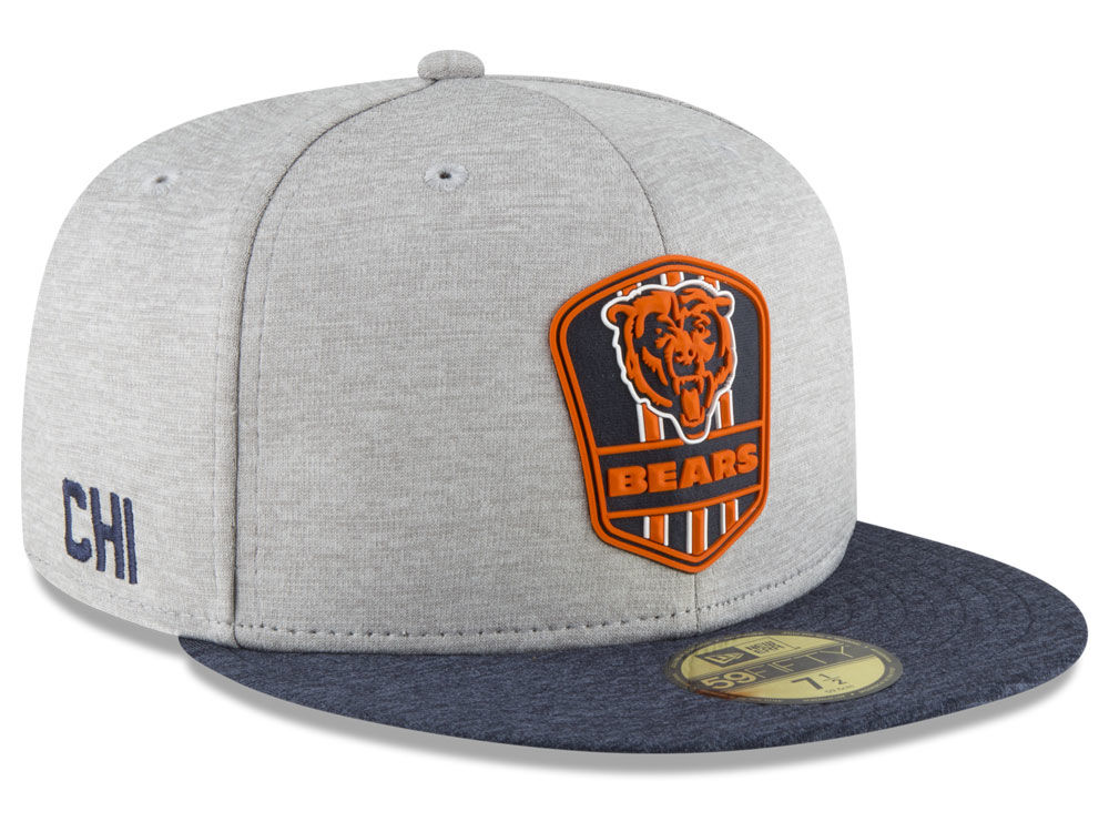 Chicago Bears New Era 2018 Official NFL Sideline Road 59FIFTY Cap ... 94d7f39d644