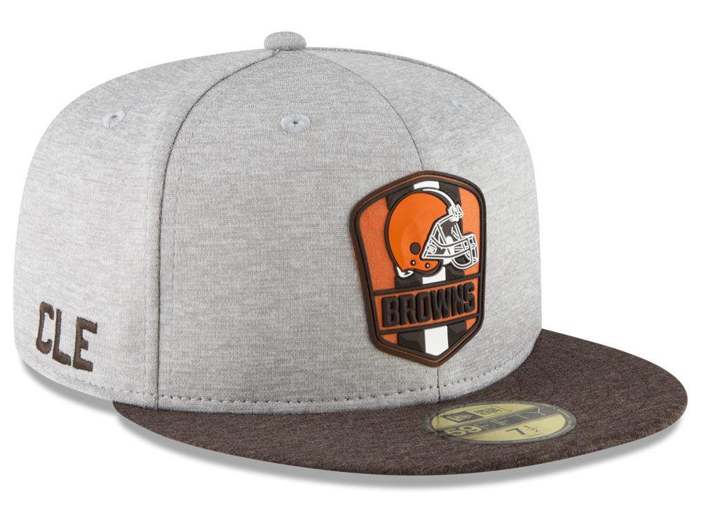 Cleveland Browns New Era 2018 Official NFL Sideline Road 59FIFTY Cap ... 23b7ea48680