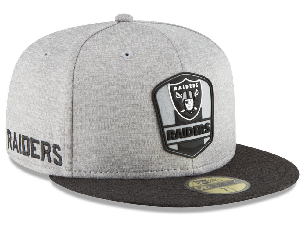 Oakland Raiders New Era 2018 Official NFL Sideline Road 59FIFTY Cap ... 1ba960809