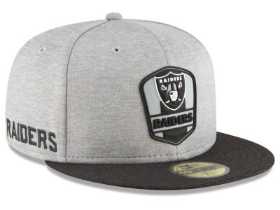 Oakland Raiders New Era 2018 Official NFL Sideline Road 59FIFTY Cap 26f5c83c30e